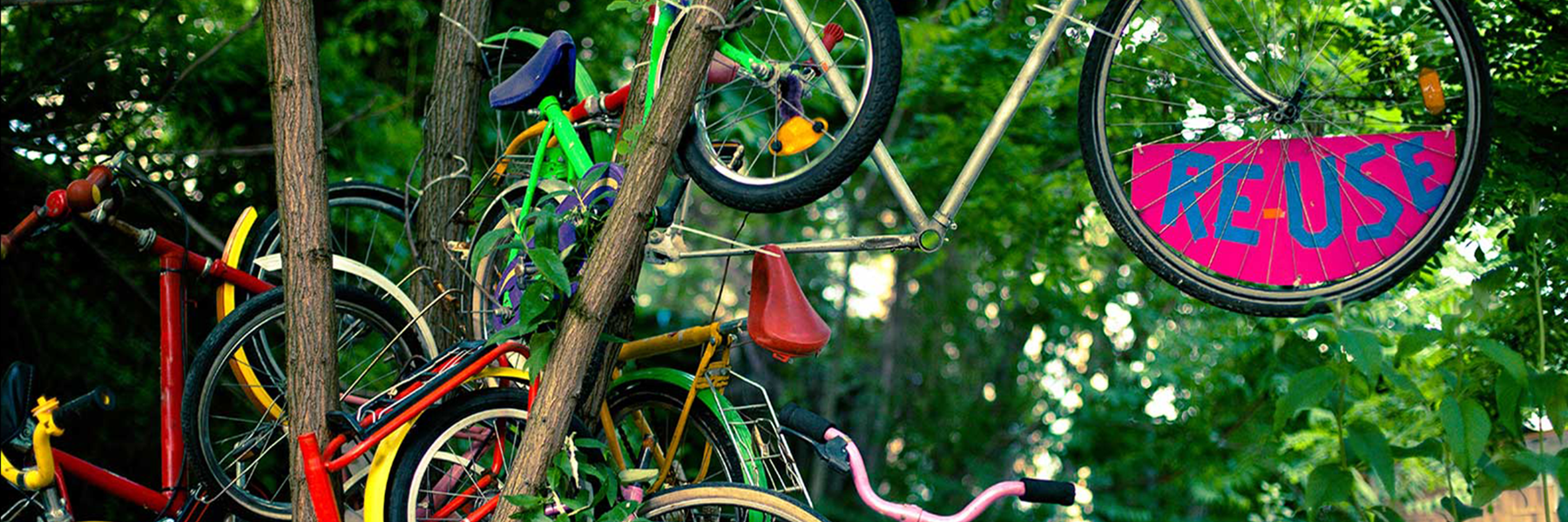 bicycles hanging on side