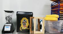 blender, shredder, mould & deckle, couching sponge, vat, drying rack