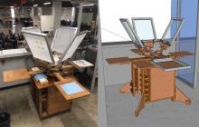 Side-by-side image shows a 3D rendering of the printing press created in the design process, with a photo of the finished press.